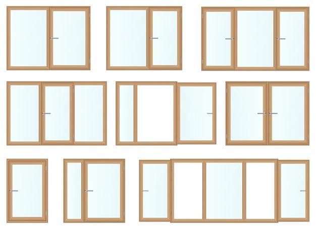 Реалистичные деревянные окна, изолированные на белом фоне