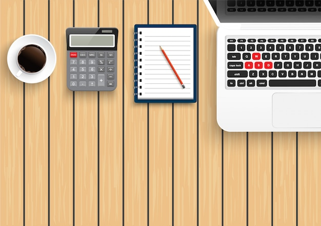 Realistic workplace desktop. top view desk table on wood. with metal pencil, mobile smartphone, coffee, calculator and laptop. vector illustration.