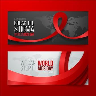 Set di banner orizzontali realistici per la giornata mondiale dell'aids