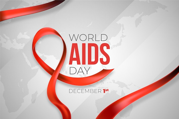 Realistic world aids day red ribbon