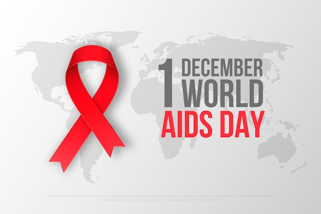 Realistic world aids day ribbon on map background