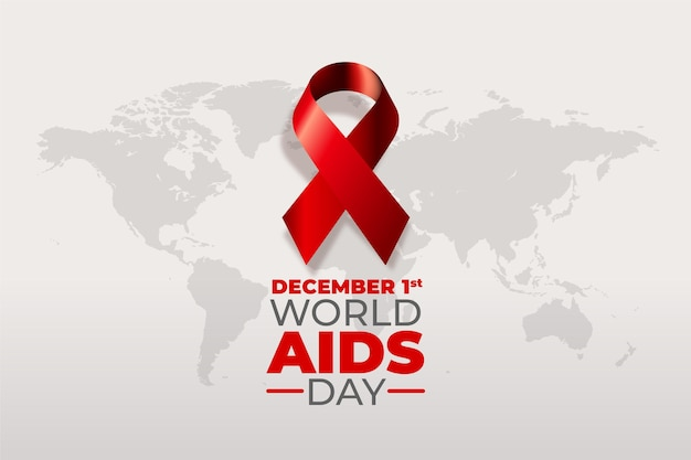 Realistic world aids day ribbon