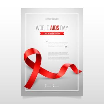 Modello di poster verticale realistico della giornata mondiale dell'aids