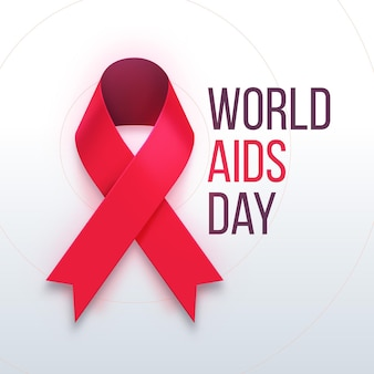 Realistic world aids day with ribbon