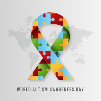 パズルのピースで現実的な世界自閉症啓発デーのイラスト