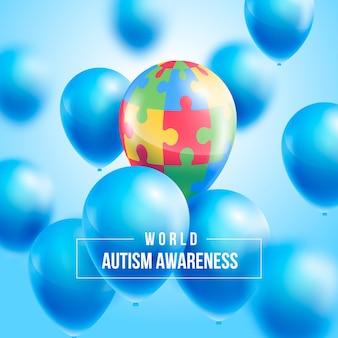 Realistic world autism awareness day illustration