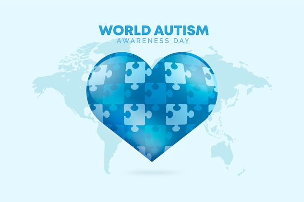 Realistic world autism awareness day illustration