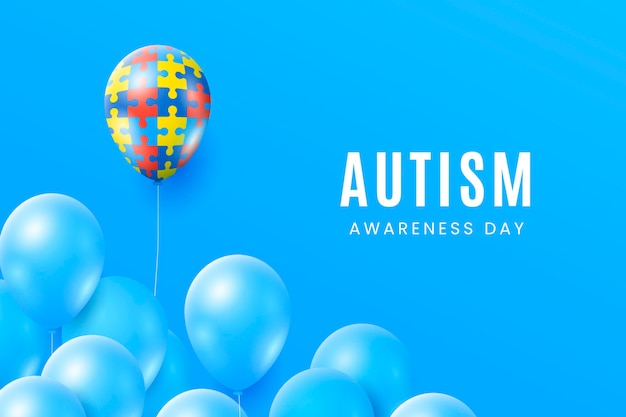 Realistic world autism awareness day illustration Premium Vector