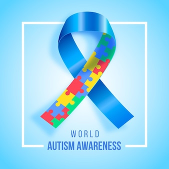 Realistic world autism awareness day illustration Free Vector