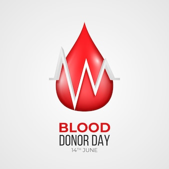 Realistic world blood donor day illustration