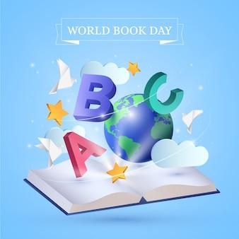 現実的な世界の本の日デザイン