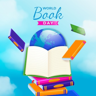 Realistic world book day illustration with book and planet