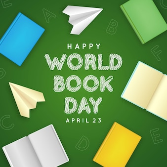 Realistic world book day illustration with books and paper airplanes