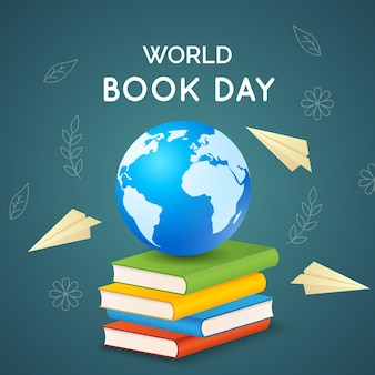 Реалистичная иллюстрация всемирного дня книги с планетой и книгами
