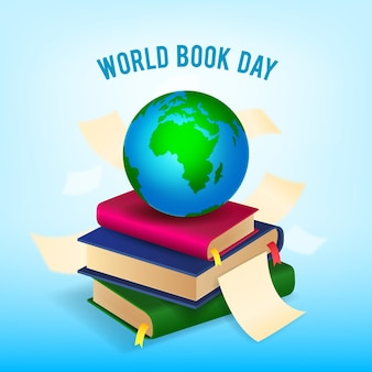Realistic world book day illustration with planet and stack of books