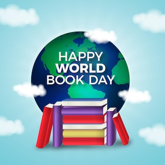 Realistic world book day illustration