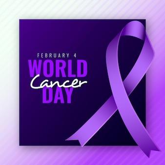 리본으로 현실적인 세계 암의 날 배경