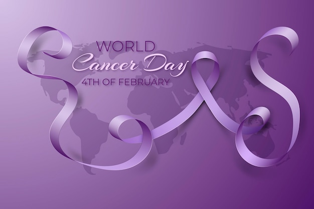 Realistic world cancer day with ribbon