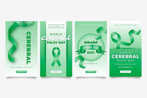 Collezione di storie di instagram per la giornata mondiale della paralisi cerebrale realistica