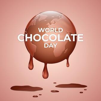 Realistic world chocolate day illustration