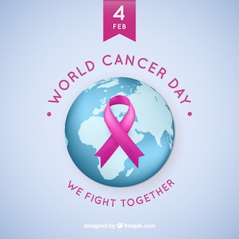 Realistic world day cancer background