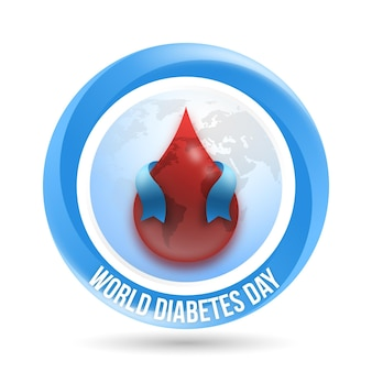 Realistic world diabetes day blood and ribbon
