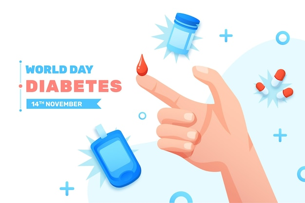 Realistic world diabetes day illustration with blood drop