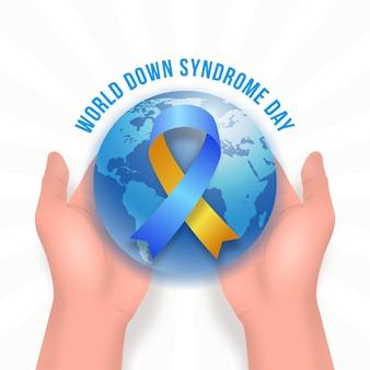 Illustrazione realistica della giornata mondiale della sindrome di down con il pianeta tenuto in mano e nastro