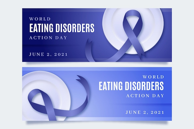 Реалистичные баннеры дня действий расстройств пищевого поведения