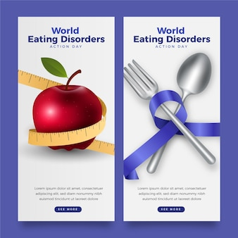 Realistic world eating disorders action day banners set