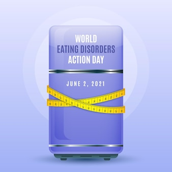 Realistic world eating disorders action day illustration
