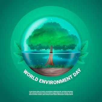 Illustrazione realistica della giornata mondiale dell'ambiente