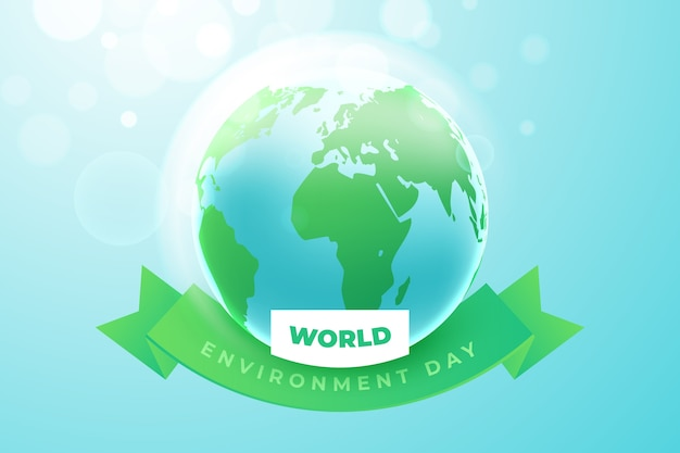 Realistic world environment day with earth
