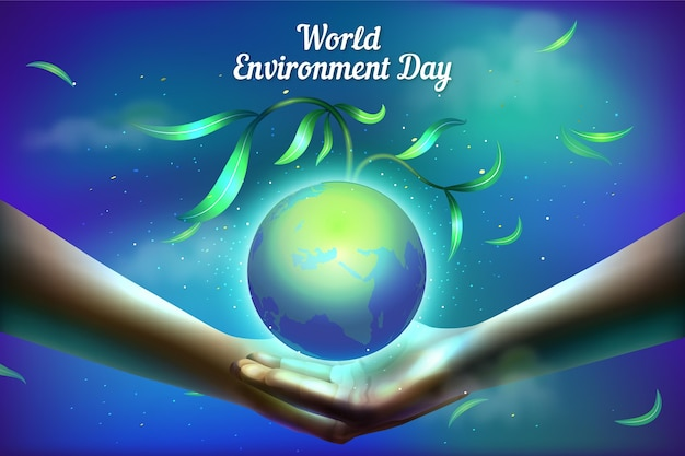 Giornata mondiale dell'ambiente realistico con le mani che tengono il pianeta