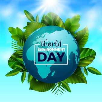 Giornata mondiale dell'ambiente realistico con pianeta e foglie
