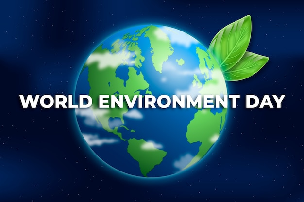 Realistic world environment day with planet