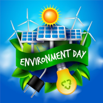 Realistic world environment day with solar energy