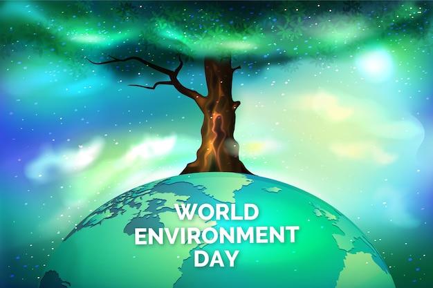 Realistic world environment day with tree and planet