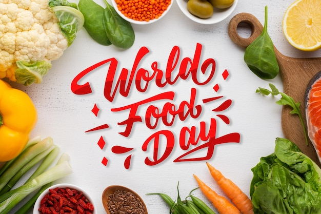 Realistic world food day lettering