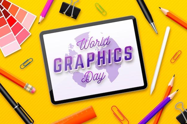 Реалистичная иллюстрация всемирного дня графики