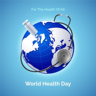 Realistic world health day illustration with planet and stethoscope