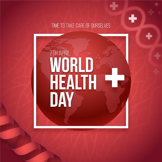 Realistic world health day illustration with planet