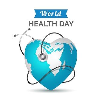 Realistica giornata mondiale della salute con il pianeta a forma di cuore e lo stetoscopio