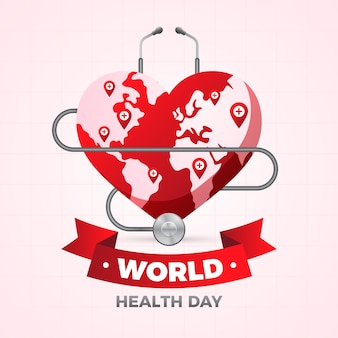 Realistic world health day with red heart shaped earth