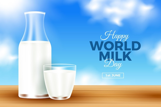Realistic world milk day illustration