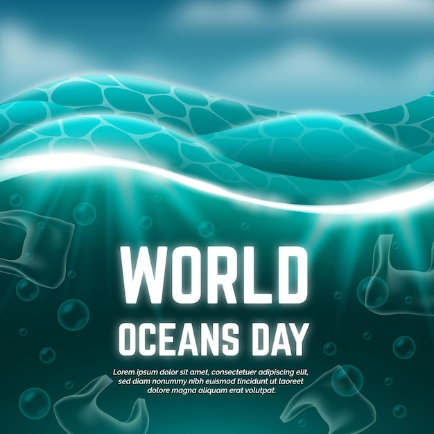 Realistic world oceans day illustration