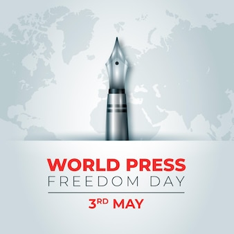 Realistic world press freedom day illustration