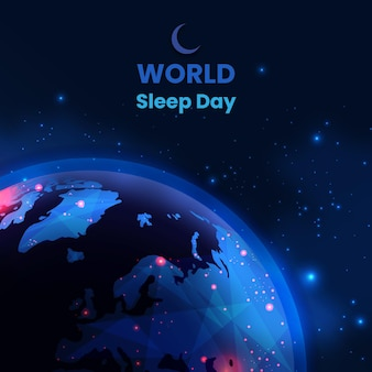 Realistic world sleep day illustration with planet earth and stars Free Vector