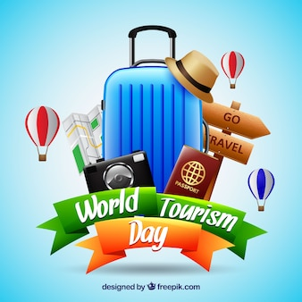 Realistic world tourism day composition