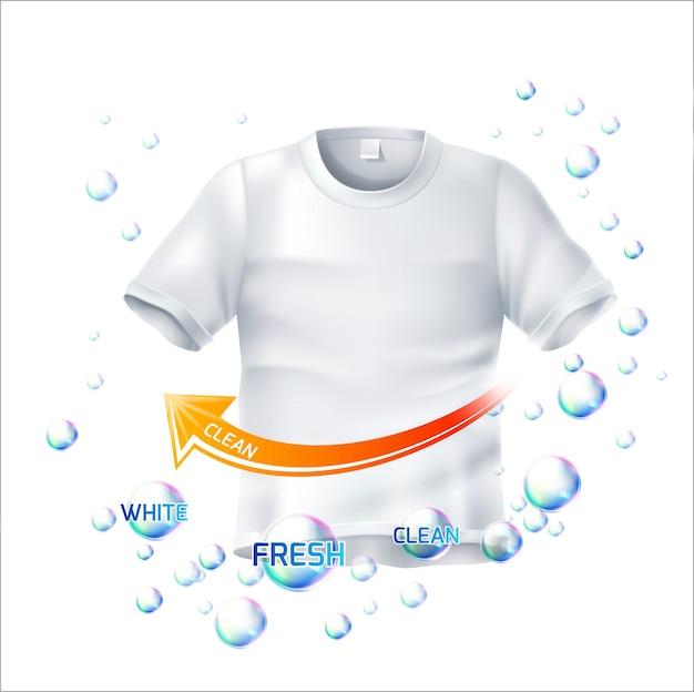 Реалистичная морщинистая футболка с очищающей молекулой bubble vortex